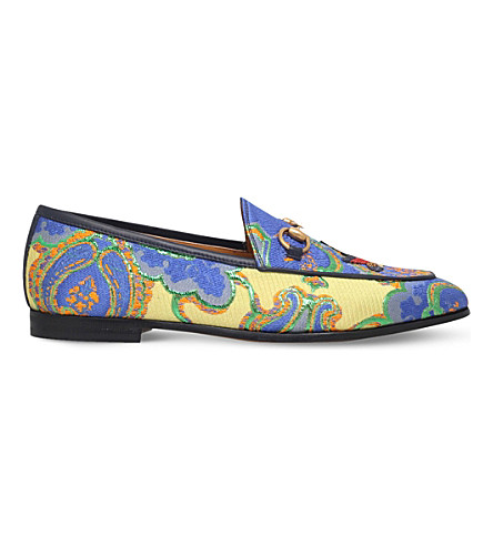 GUCCI New Jordaan embroidered jacquard loafers (Mult/other