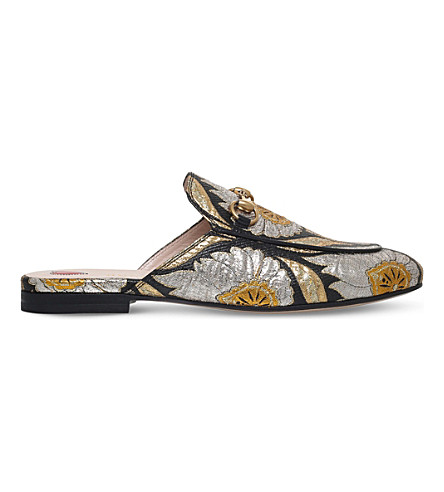 GUCCI Princetown floral-jacquard slippers (Black/comb