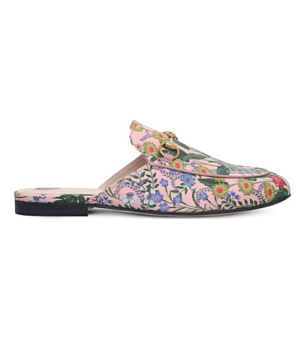 GUCCI Princetown New Floral leather slippers (Pink comb
