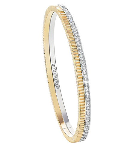 BOUCHERON Quatre Radiant Edition 18ct white-gold, yellow-gold and diamond bangle bracelet