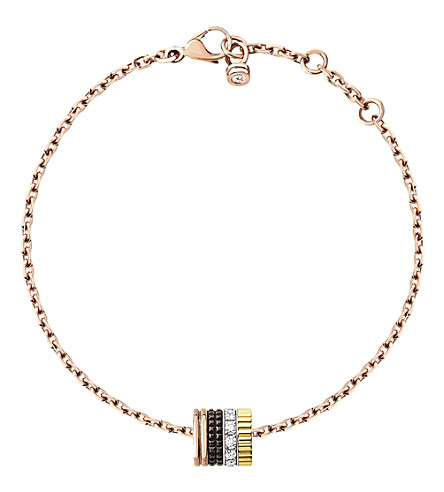 BOUCHERON Quatre Classique 18ct white, yellow and pink-gold and diamond bracelet