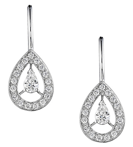 BOUCHERON Ava 18ct white-gold and diamond pear earrings