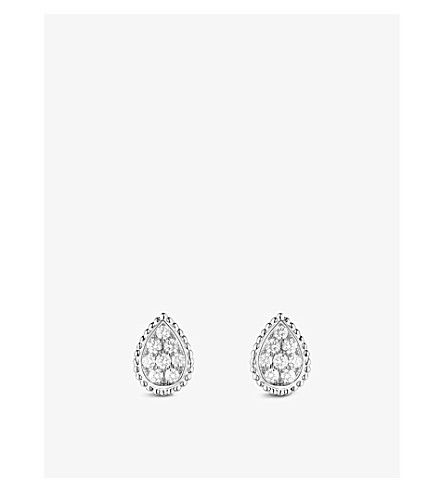BOUCHERON Serpent Bohème 18ct white-gold and diamond stud earrings