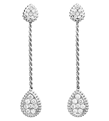 BOUCHERON Serpent Bohème 18ct white-gold and diamond drop earrings