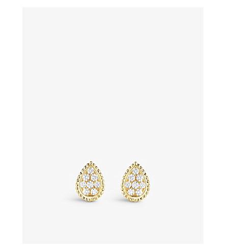 BOUCHERON 蛇 Bohème 18ct 黄色金子和金刚石螺柱耳环