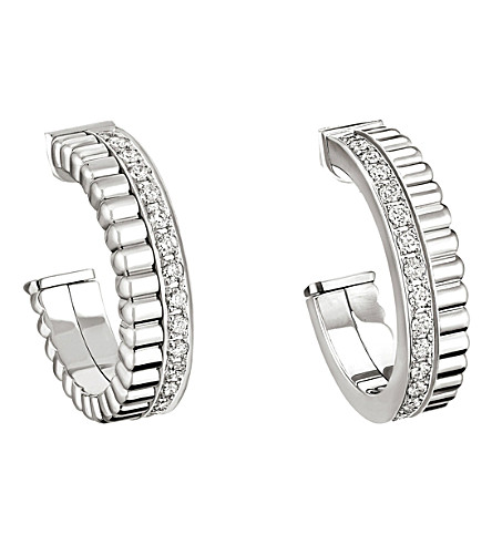 BOUCHERON Quatre Radiant Edition 18ct white-gold and diamond hoop earrings