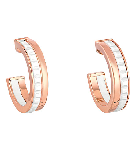 BOUCHERON Quatre White Edition 18ct pink-gold and ceramic hoop earrings