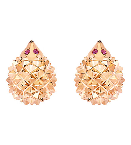 BOUCHERON Hans the Hedgehog 18ct pink-gold, black diamond and ruby stud earrings