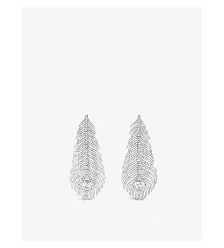BOUCHERON 羽 Paon 18ct 白金和钻石吊坠耳环
