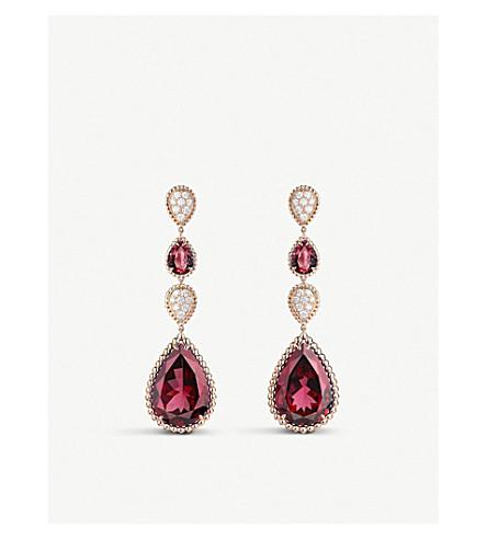 BOUCHERON Serpent Bohème 18ct pink-gold, diamond and rhodolite garnet pendant earrings