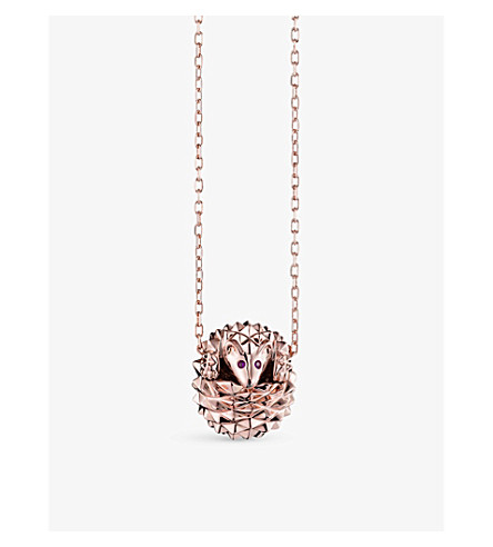 BOUCHERON Hans the Hedgehog 18ct pink-gold, ruby and diamond necklace