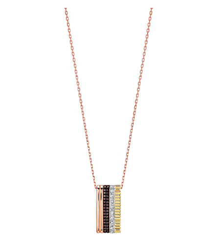 BOUCHERON Quatre Classique 18ct pink-gold, yellow-gold white-gold and diamond pendant necklace