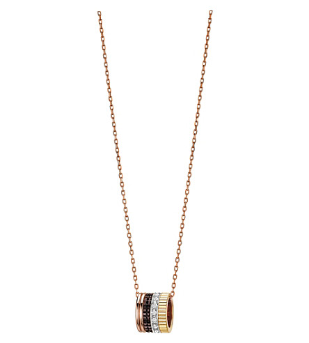 BOUCHERON Quatre Classique 18ct pink-gold, yellow-gold, white-gold and diamond pendant necklace