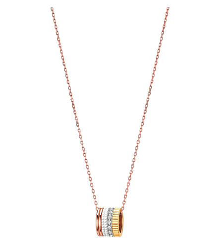 BOUCHERON 四白色版18ct 粉红色金色, 金色, 白色黄金和钻石坠项链