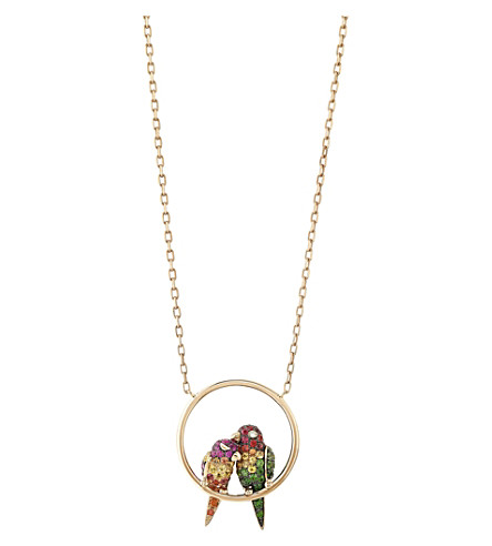 BOUCHERON Nuri the Cockatoo 18ct pink-gold, sapphire and diamond necklace