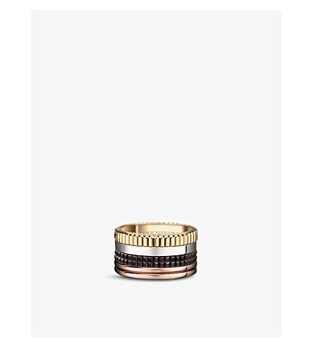 BOUCHERON Quatre Classique 18ct yellow-gold, white-gold and pink-gold ring