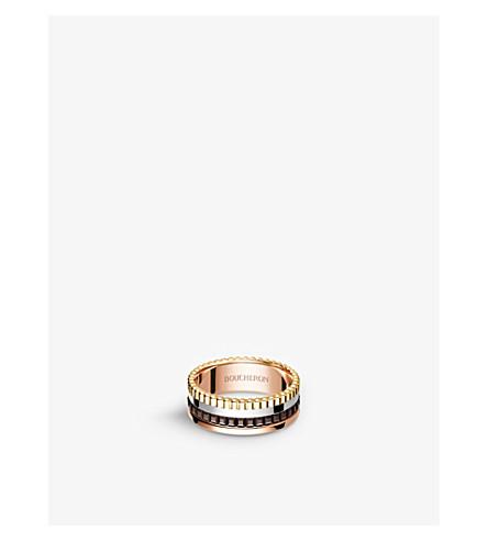 BOUCHERON 四 Classique 18ct 黄金、白金、粉红金戒指