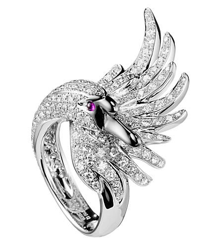 BOUCHERON Cypris 天鹅18ct 白金钻石戒指