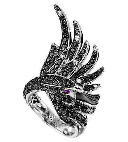 BOUCHERON Cypris, the Swan 18ct white-gold with pavé black sapphires, diamonds and rubies ring