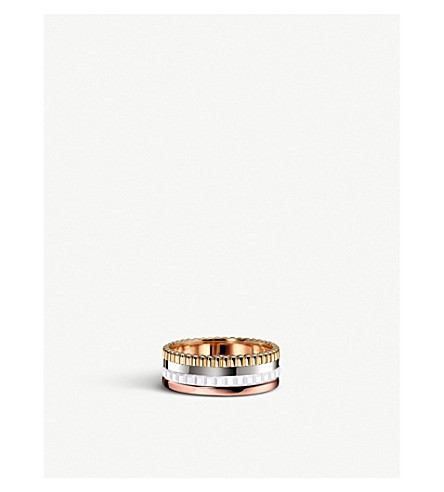 BOUCHERON Quatre 18ct white, yellow and pink gold and ceramic ring