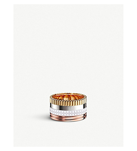BOUCHERON Quatre 18ct white, yellow and rose-gold and ceramic ring
