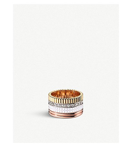 BOUCHERON Quatre 18ct white, yellow and pink gold, diamond and ceramic ring