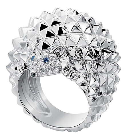 BOUCHERON Hans the Hedgehog 18ct white-gold, sapphire, white and black diamond ring
