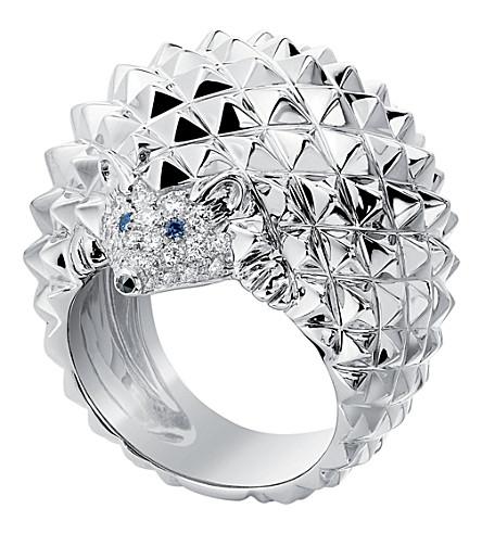 BOUCHERON Hans 刺猬18ct 白色金子, 蓝宝石, 白色和黑色金刚石圆环