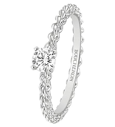 BOUCHERON 蛇 Bohème 18ct 白金和纸牌钻石戒指