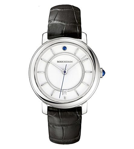 BOUCHERON 张草图白金和凸圆形手表