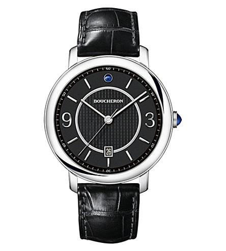 BOUCHERON 草图不锈钢和圆形手表
