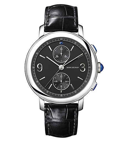 BOUCHERON WA021302 Epure stainless steel and leather chronograph watch