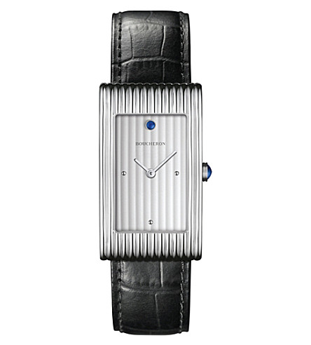 BOUCHERON Reflet large stainless steel, cabochon and alligator leather watch