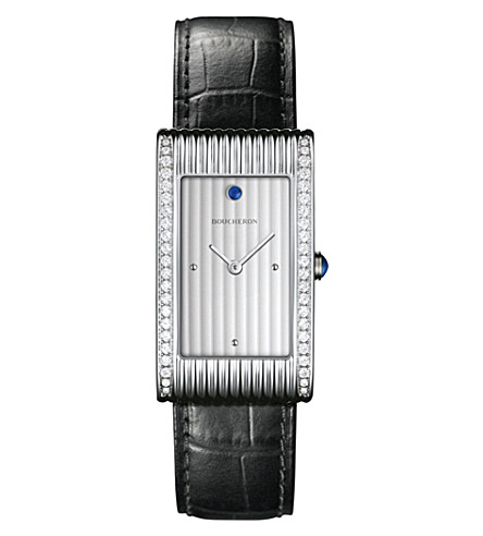 BOUCHERON Reflet large stainless steel, diamond, cabochon and alligator leather watch