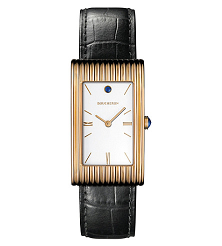 BOUCHERON Reflet large 18ct pink-gold, cabochon and alligator leather watch