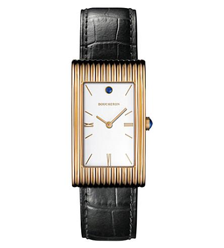 BOUCHERON Reflet 大18ct 粉红色-金色, 圆形和鳄鱼皮革手表