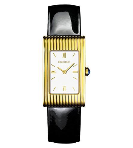 BOUCHERON Reflet 中等18ct 金色蓝宝石 cobochon 手表