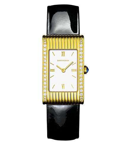 BOUCHERON Reflet medium 18ct yellow gold and diamond watch