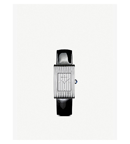 BOUCHERON Reflet small stainless steel, diamond and sapphire cabochon watch