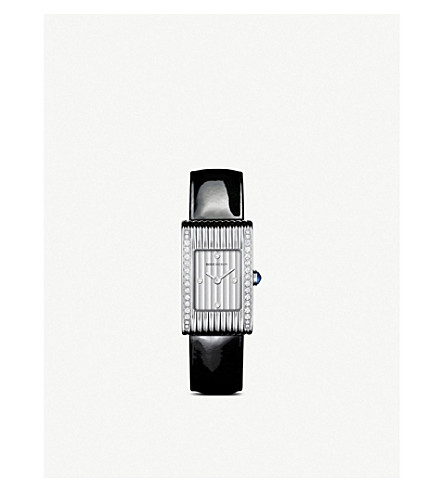 BOUCHERON Reflet stainless steel, diamond and leather quartz watch