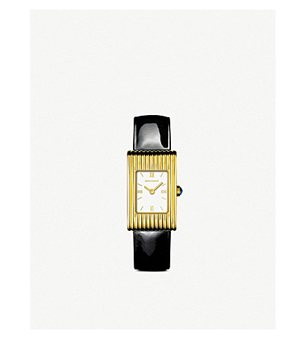 BOUCHERON Reflet 18ct yellow-gold and leather quartz watch