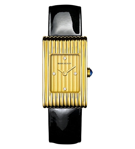 BOUCHERON Reflet 18ct yellow-gold, diamond and leather quartz watch