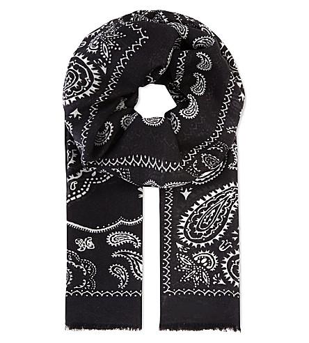 SANDRO Arizona paisley printed bandana scarf (Black