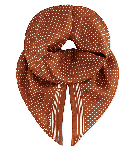 SANDRO Asuza polka dot silk scarf (Wildcat (fawn)