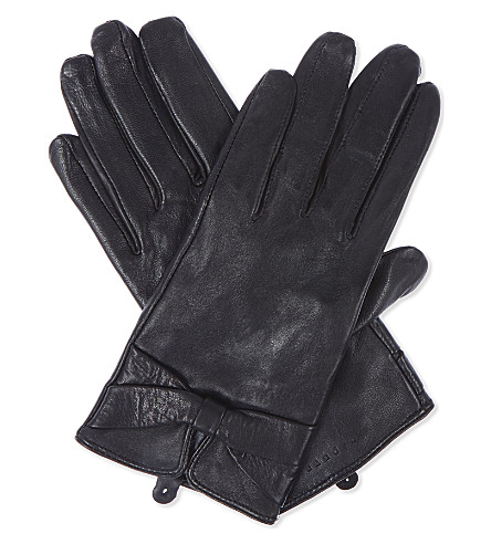 SANDRO Leather gloves with bow detail (Black