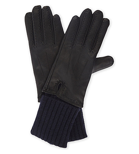 SANDRO Wool and cashmere panelled leather gloves (1