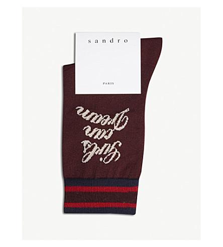 SANDRO Girls Can Dream cotton-blend socks (Burgundy
