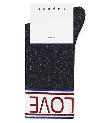 SANDRO Love metallic lurex socks (Blue
