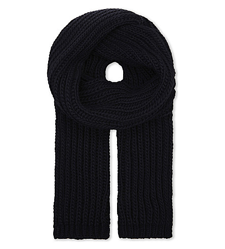 SANDRO Ribbed knitted scarf (Navy+blue