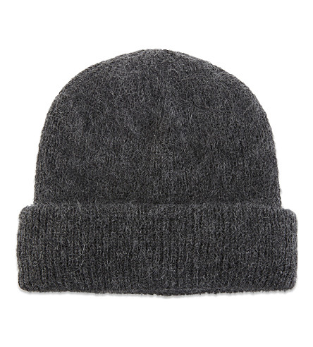 SANDRO Mohair-blend beanie hat (Charcoal+grey